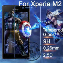 0.3mm 9H Explosion Proof Anti scratch Tempered Glass Film For Sony Xperia M2 Aqua S50H Screen Protector Film + cloth