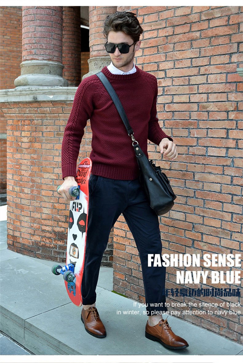 2015 New Polo Winter Men Round Neck Fashion Mans Knitted Sweater Long Sleeve Brand Pullover Size M-XXL FC06 - Top store