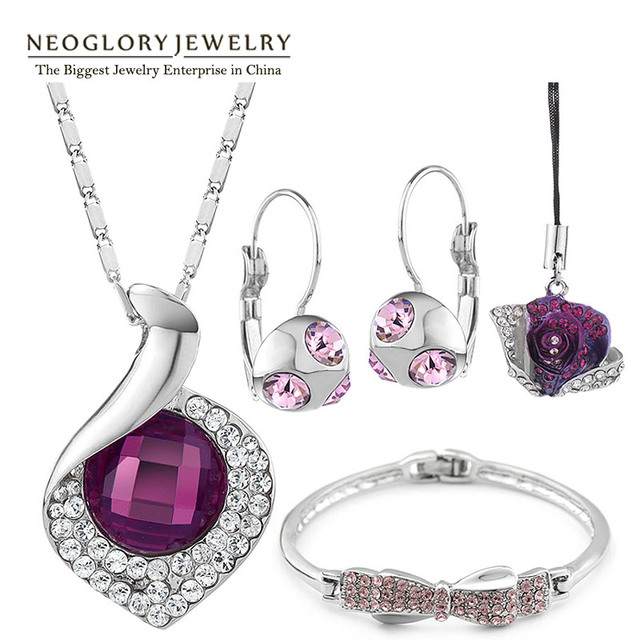 Neoglory Top Quality Austrian Crystal Rhinestone Fashion Jewelry Sets for Women Wedding Jewellery 2016 New Brand Pur1 CLE