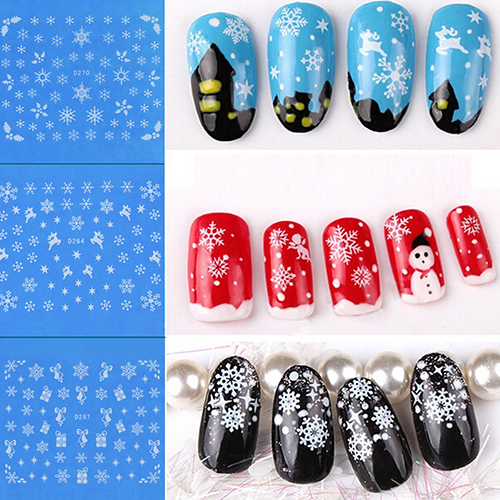 1 Sheet 11 Designs Snow Flower Image DIY Nail Art Tips Stickers Manicure Tools AOO1(China (Mainland))