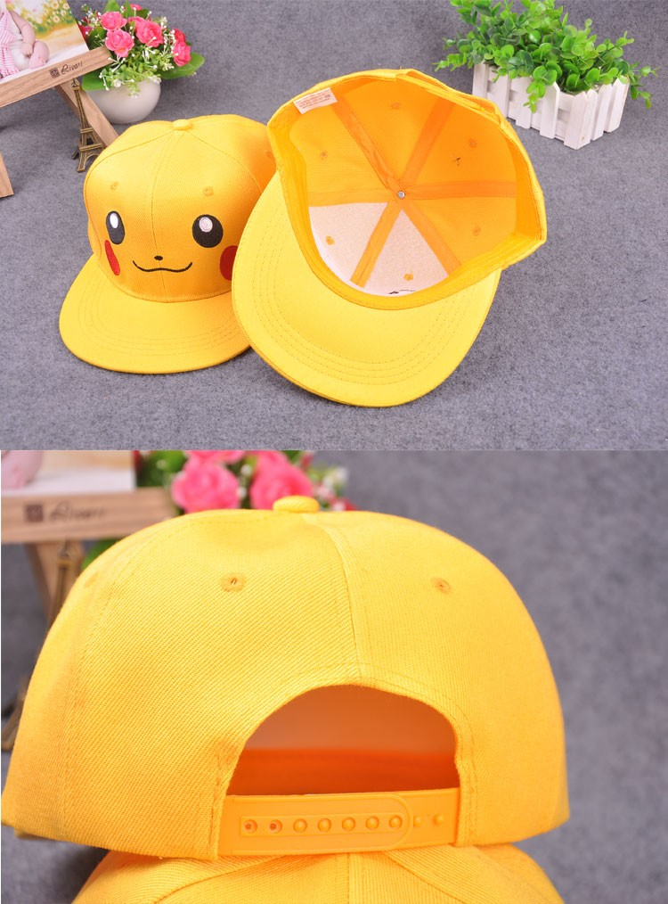 Hot!2016 New Anime Pokemon Go Baseball Cap Pikachu Caps Cosplay Adults And Children Yellow Hip Hop Hat Snapback Leisure Hat W155