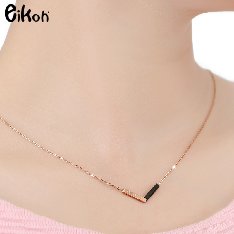 eikoh fashion necklaces triangle pendants with alfabet initial g letter rose gold choker necklace women jewelry