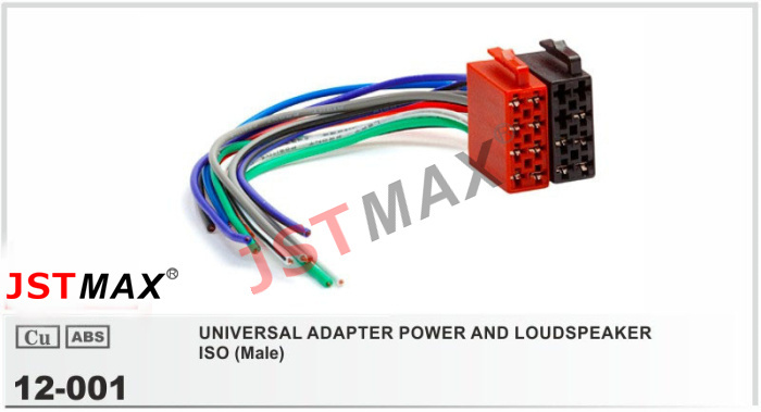 Jstmax Universal Male Iso Radio Wire Cable Wiring Harness