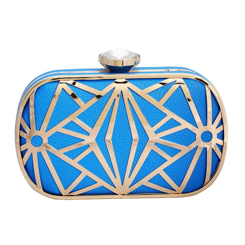 Hot fashion hollow metal PU clutch evening bag, Ms. Clutch (black, white, rose red, sky blue, light gold)(China (Mainland))