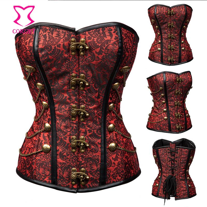 Vintage Brown Brocade Chain Steampunk Corset Burlesque Costume Waist Trainer Waist Slimming Corsets and Bustiers Gothic Clothing