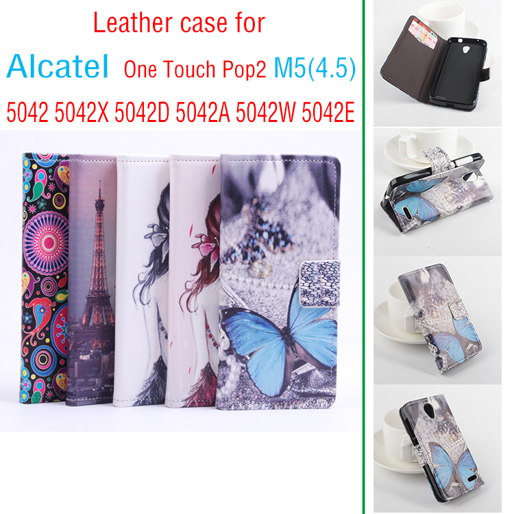 Case for Alcatel One Touch Pop2 (4.5) 5042 5042d 5042e dual SIM 5042a 5042x 5042w 5042g Flip Cover Case for Phone Two types(China (Mainland))