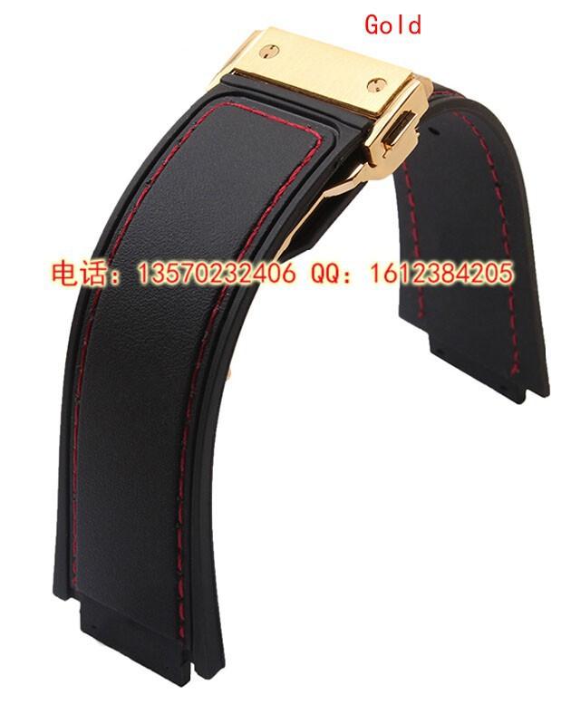 29 мм ( 19 мм пряжки ) высокое качество черный резиновый ремешок ремешок WIith красной нитью роуз развертывания застежка для марка
