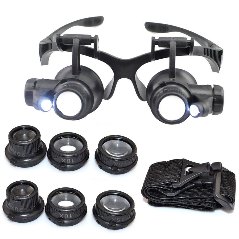 10X 15X 20X 25X LED Double Eye Jeweler Watch Repair Magnifying Glasses Loupe Magnifier 9892G(China (Mainland))
