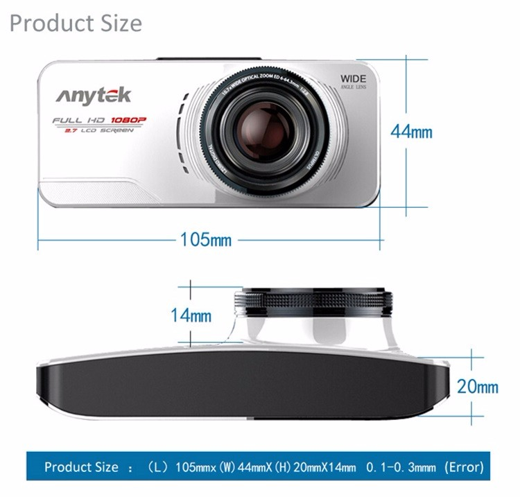 Купить Оригинал Anytek AT66A full HD Новатэк 96650 Камеры Автомобиля DVR Рекордер черный Ящик 170 Градусов 6 Г Объектив Ужин Ночного Видения Даш Cam