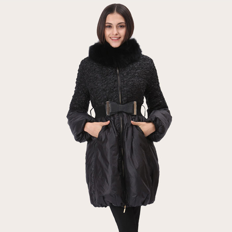 2016 New Winter Jacket Korean Slim Long Nagymaros Collar Women Goose Down Jackets Patchwork Coat Warm Parkas with Belt L0053(China (Mainland))