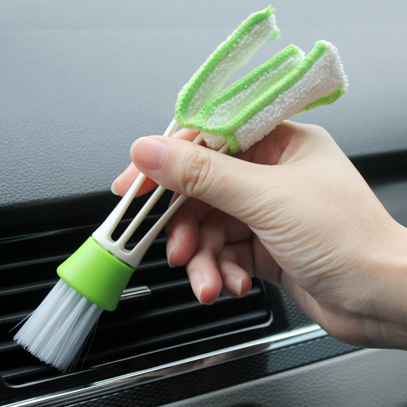 vanzlife double head vehicle air conditioner rair outlet shutter window cleaning brush instrument dust removing keyboard brush(China (Mainland))