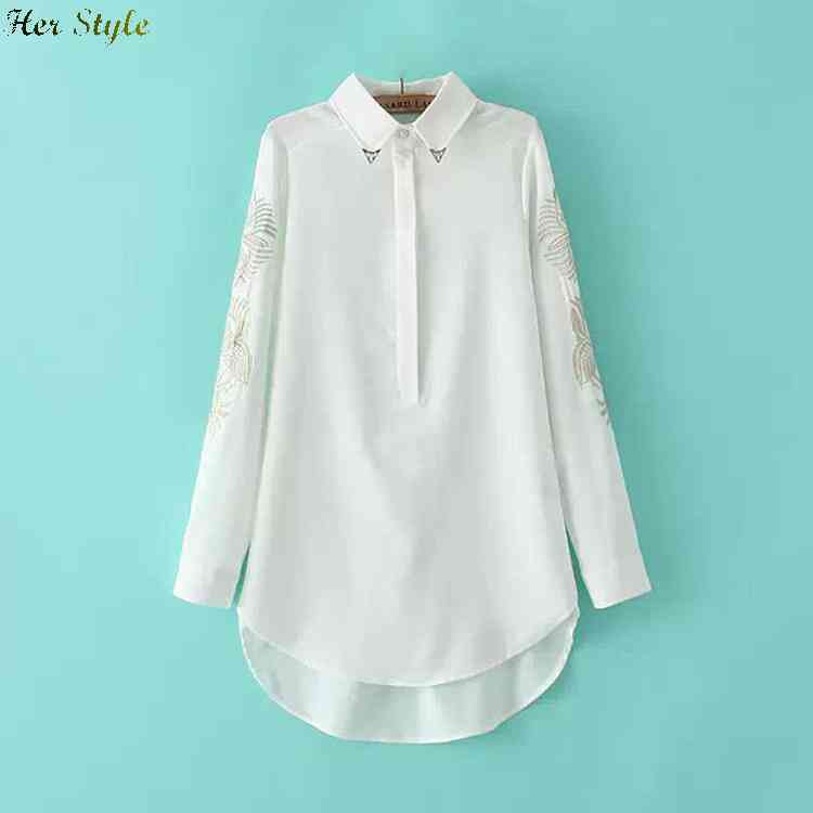 Free Shipping 6430 Europe wind spring new neckline decorative sleeves embroidered long shirt 1432921687(China (Mainland))