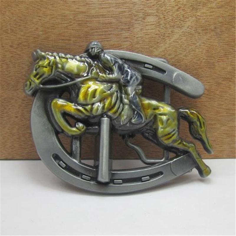 Free shipping clothing men belt buckle metal cowboy designer horse racing logo DIY clothes fashion belt buckle(China (Mainland))