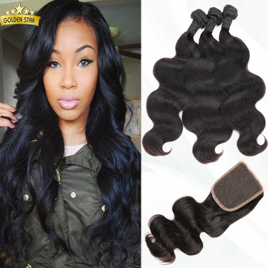 Malaysian Body Wave Human Hair Weaves With Closure 4pcs Cheap 100% Human Hair #1B Malaysian Virgin Hair 7a Grade With Closure<br><br>Aliexpress