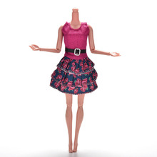 1 Pcs Rose Flower Print Princess Dress for Barbies Dolls Summer Doll Clothing Mini Doll Tank Dress(China (Mainland))