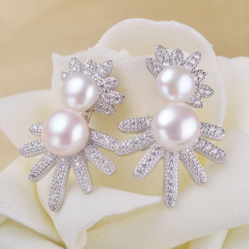 Double freshwater pearl stud earrings 6-7/8-9mm real 925 sterling silver charming jewelry with Rhinestone crystal Free shipping<br><br>Aliexpress
