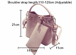 Fresh Style Bucket Bag Simple Gorgeous Composite Bag Ladies Shoulder Bag Utilitarian Concise Drawstring Women PU Handbag