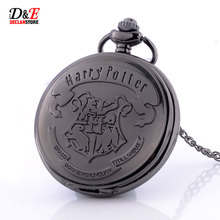 Hogwarts School Badge Harry Potter Pocket Watch Quartz Watch Men with Necklace Chain P383