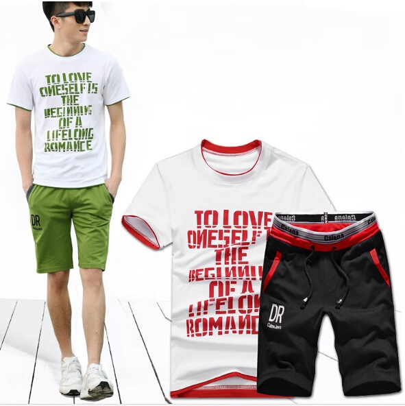 Summer Style . Fashion and Casual Sports Suit for Men. 2PCS/ Set , Sports T-Shirt and Half Pant . High Quality . Free Shipping(China (Mainland))