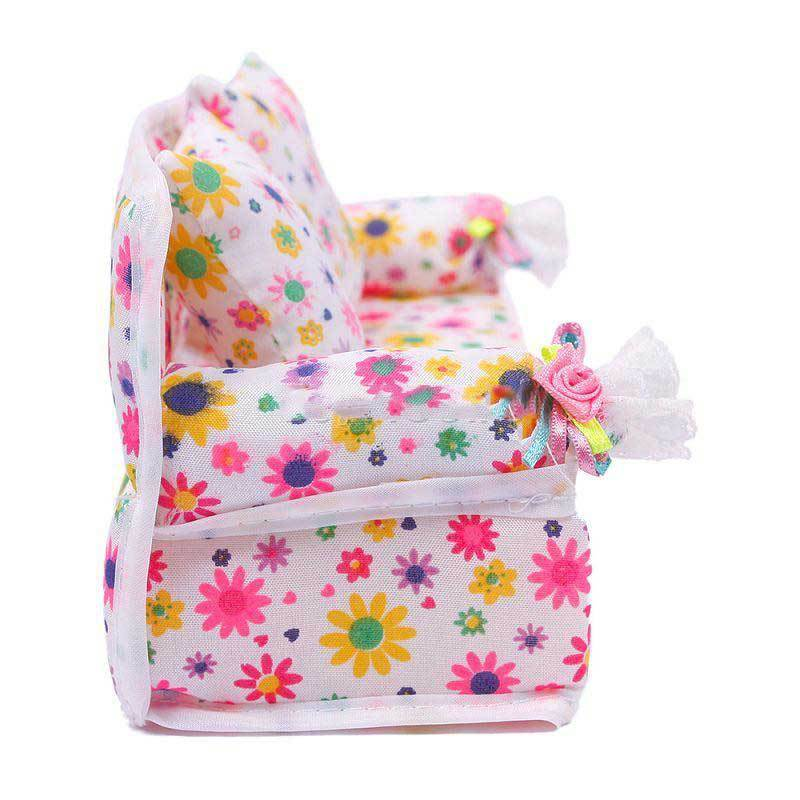 CanMore Super Mini Furniture Flower Sofa Couch +2 Cushions For Barbie Doll House Accessories(China (Mainland))