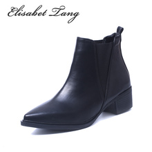 Elisabet Tang Low Heel Fashion Chelsea Sexy Pointed Toe Ankle Boots Slip-on Shoes Women Soft Leather Big Size Lady Shoes(China (Mainland))