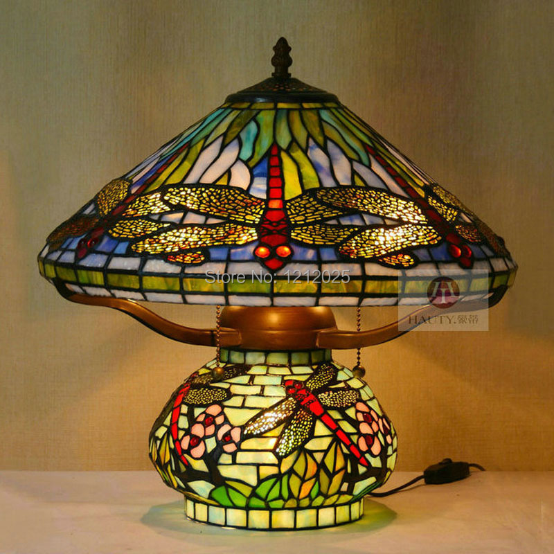 tiffany style dragonfly table lamp double lit lights stained glass. Black Bedroom Furniture Sets. Home Design Ideas