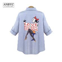 ANBYC Plus size Women/Men blouses and shirts brand 2015 Fashion cartoon Simpson long sleeve Vintage denim blouse shirt models
