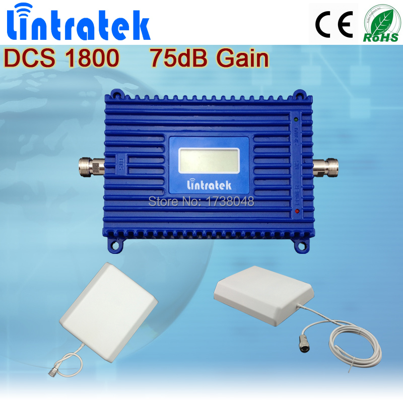 LCD Display 1800MHz DCS cell phone signal repeater/ mobile phone amplify cheap booster set with indoor and out wall antenna(China (Mainland))
