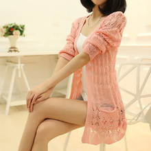 Fashion Knitted Cardigan Loose Pocket Hollow Long Sleeve Women Sweater Female Cardigans Women's Coats Sweaters Outerwear YF9581(China (Mainland))