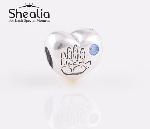 Аутентичные стерлингового серебра 925 мальчик в форме сердца подвески с голубой CZ SHEALIA ювелирные подходит известный бренд DIY браслеты LW370