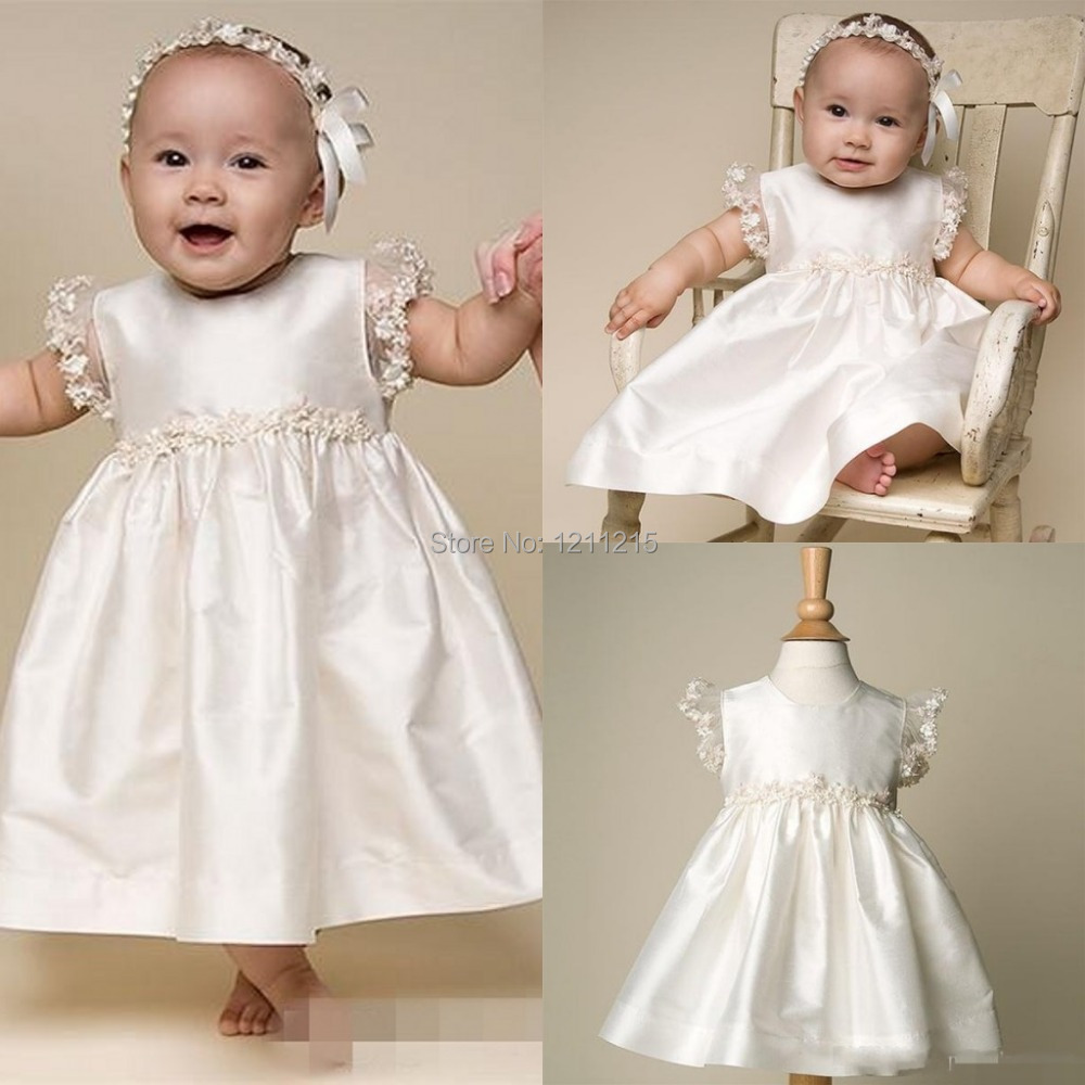 2015 Girl Pageant Dress Cheap Satin Cap Sleeve with Beads Infant Baptism Gown Christmas Custom Christening Gowns(China (Mainland))