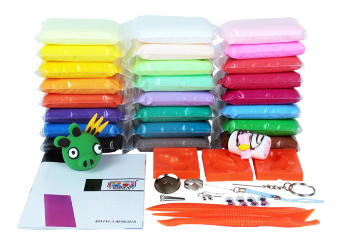 24pcs Colorful Plasticine for Kids Children European Safety Standard Soft Play Dough Toys Fimo Polymer Clay Learning & Education(China (Mainland))