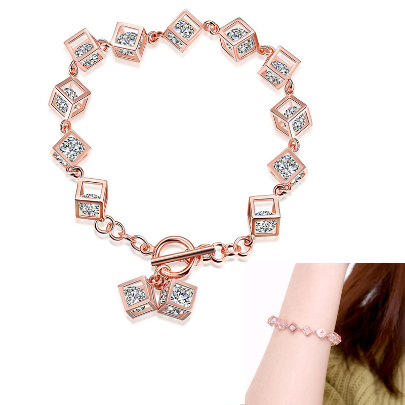 Women's Jewelry 925 Sterling Silver Rose Gold Plated Zircon Cube Bracelet Bangle Jewelry Gift For Women(China (Mainland))
