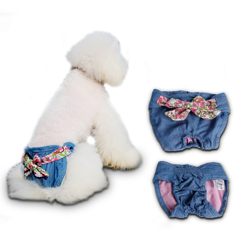 Pet Fashion Denim Pants Teddy Physiological Menstrual Pants Pants Puppy Dog Sanitary Napkin Safe Underwear S M L(China (Mainland))