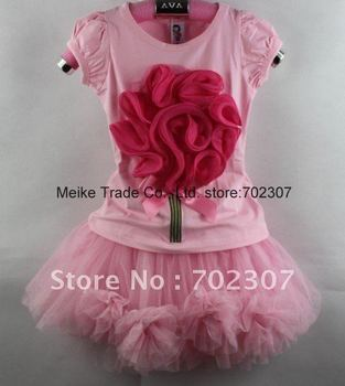 Free shipping  Original brand baby clothes kid's clothes   2pcs sets  baby  suits  5sets/lot8920 pink  shirt +pink skirt  C001