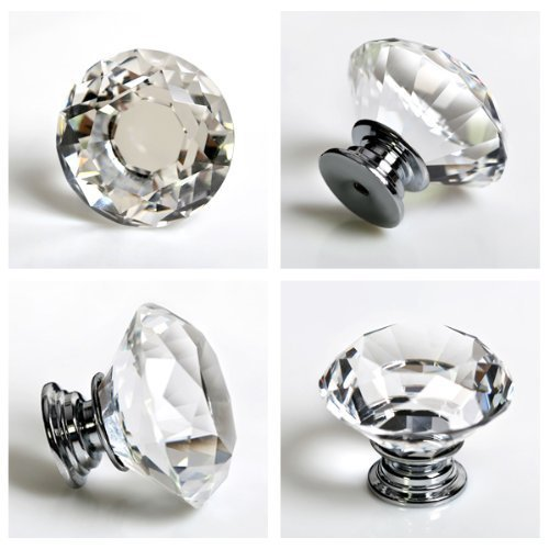 5PCS DiameterTOY STORES 40mm Crystal Glass Cabinet Knob Cupboard Drawer Pull Handle, Come with 3 kinds of Screws (Clear)(China (Mainland))
