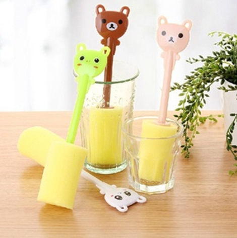 CQ Hot new creative home life, cute cartoon animal products, sponge cup brush cleaning brush(China (Mainland))
