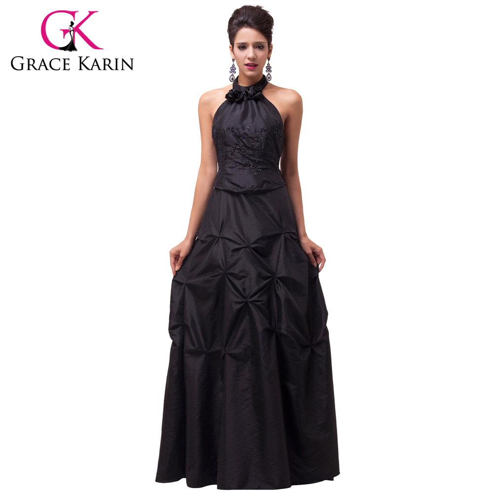Grace Karin Long Black Formal Evening Dresses Women Elegant Party Dress Halter Evening Gowns Taffeta CL6074(China (Mainland))
