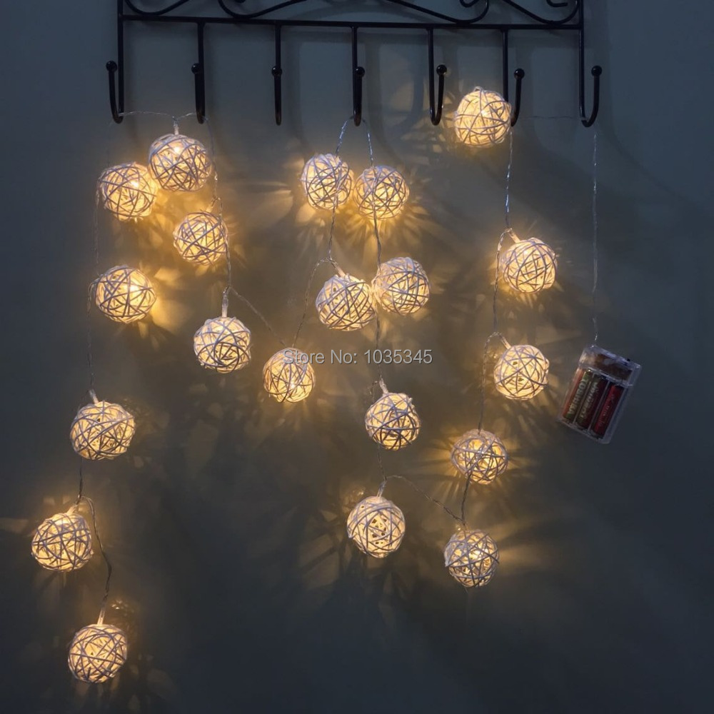 LED Battery String Lights 20 Rattan Ball Lights for home decoration wedding patio indoor string lights bedroom fairy lights(China (Mainland))