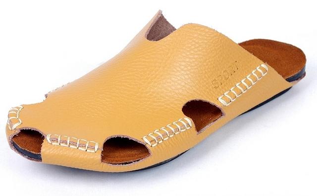 Мужские кожаные ботинки тапочки заголовок с плоскими летом новых прибыть мужская ...