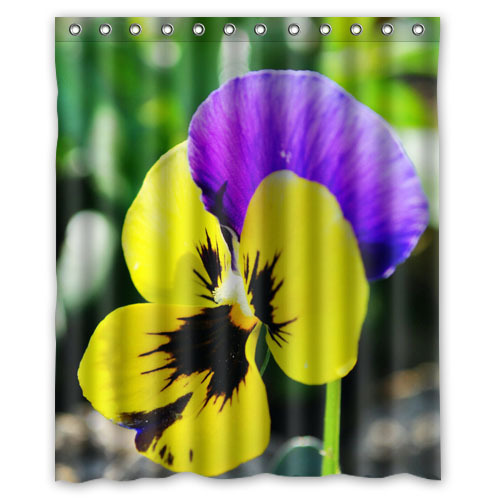 """High Quality Bath Curtain Home Product Pansy Tricolor viola Shower Curtain Mouldproof Waterproof Bathroom Curtain 60"""" x 72""""(China (Mainland))"""