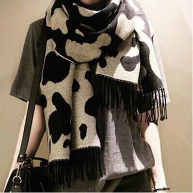 Женщины осень зима новинка мода леопардовый шарф кашемира кисти шали