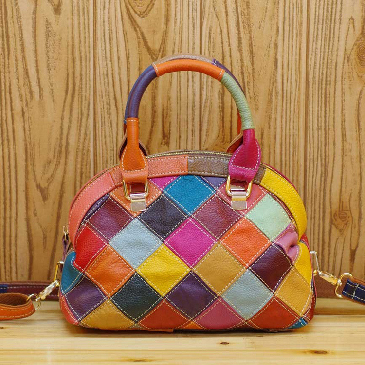 UniCalling Denim handbagsBroken skin leather fashion hit color stitching leather mixed colors hit color plaid wholesale 313 Mobi(China (Mainland))