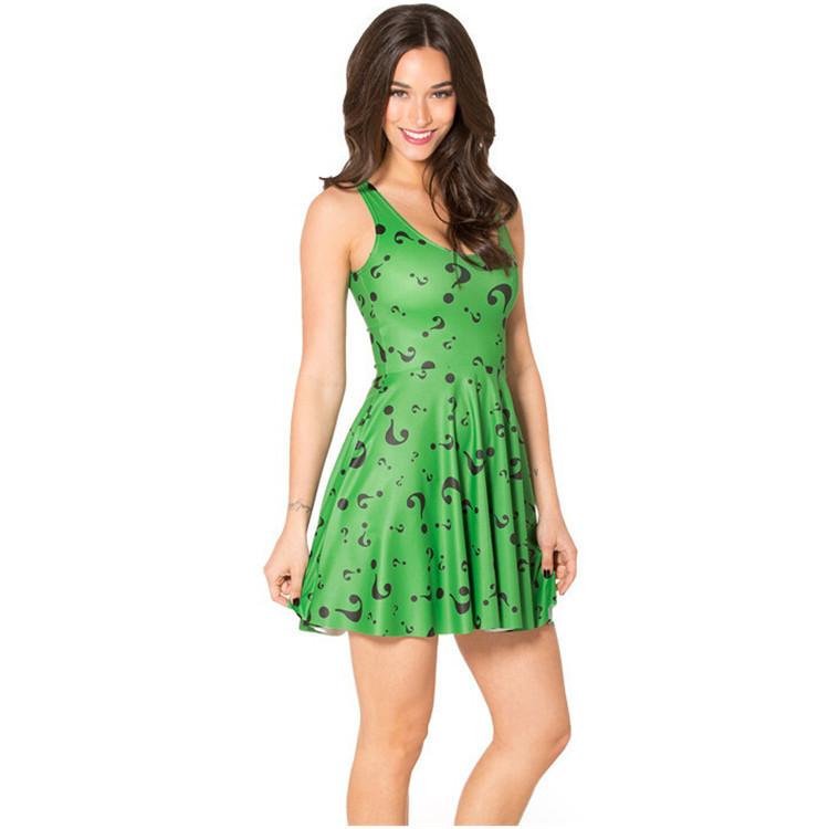 2015 moda Sexy sin mangas Vestidos drapeados Vestidos impresión Question Mark diseño Color verde Mini vestido Hot oferta envío gratis(China (Mainland))