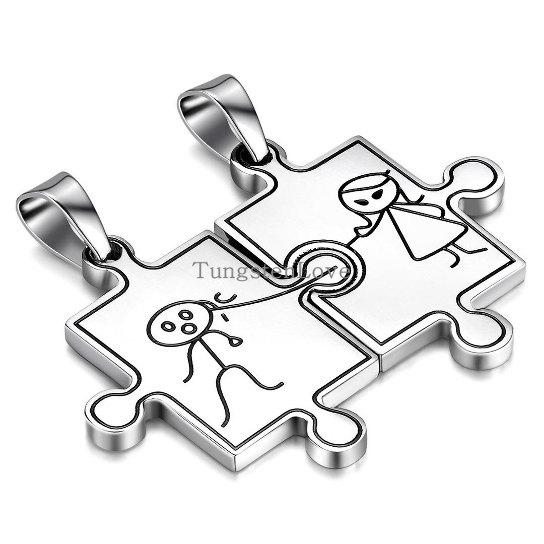 New arrivals 2015 2pcs Mens Womens Couples Puzzle Stainless Steel Pendant Love Necklaces, Colour Silver colares femininos hombre(China (Mainland))