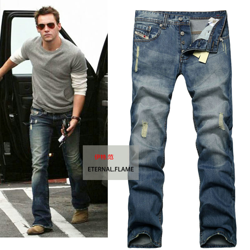 2015 new david beckham mens jeans washed ripped jeans for. Black Bedroom Furniture Sets. Home Design Ideas