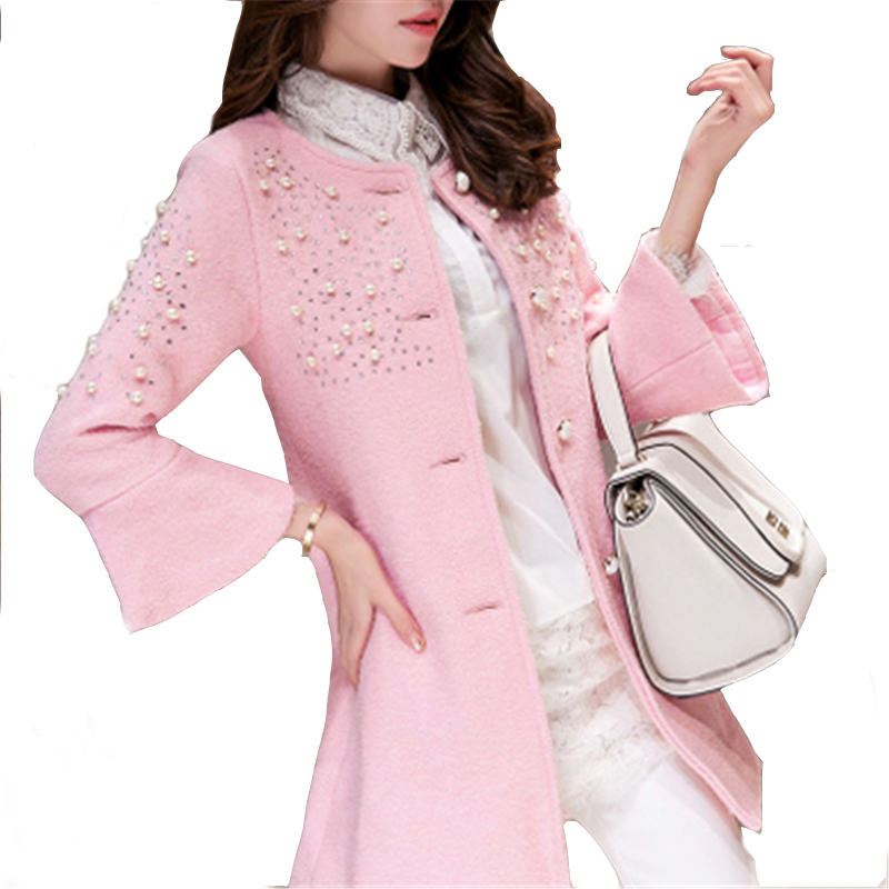 2016 New Autumn and Winter Women Wool Coat  Slim Medium-Long Single-breasted Woolen Coat Beading O-Neck Collar Wool Jacket WY436Одежда и ак�е��уары<br><br><br>Aliexpress