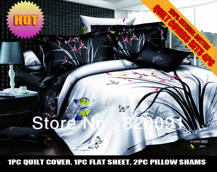 HOT SALE ! 4PCS Flower Butterfly Full/Queen Bedding Set Duvet Cover Set 100% Cotton Twill Style [Black/white]-Bed In A Bag(China (Mainland))