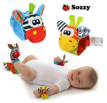 ABCD sock baby rattle baby toys Garden Bug Wrist Rattle and Foot Socks 4 pcs lot
