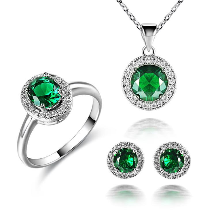 women 39 s 18k white gold filled emerald white blue sapphire
